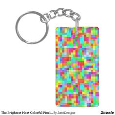 The Brightest Most Colorful Pixel Pattern Double-Sided Rectangular Acrylic Keychain