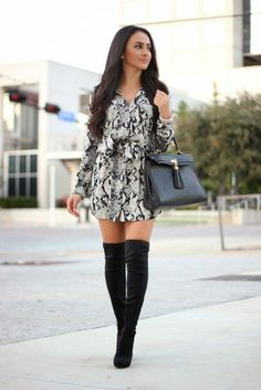 otk boots and dress on petite girl Going Out Outfits For Winter