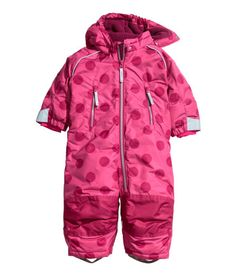 $39.99-Padded snowsuit in water-repellent functional fabric. Detachable lined hood with elastication at front, zip at front and along one leg, and front pockets with zip. Elastication and Velcro tabs at cuffs and hems, inner ribbing at cuffs in fast-drying functional fabric, and adjustable elastic straps for feet. Reinforcements at knees and seat, reflective details, and fleece lining. Water-repellent coating without fluorocarbons.