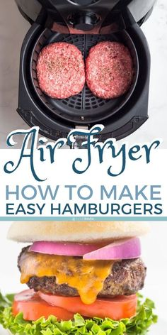Tasty Air Fryer Burger (from scratch, or frozen!) - Noshtastic - Air Fryer Hamburgers, easy recipe for making your own burger patties from scratch and cook them qui - Air Fryer Recipes Hamburger, Air Fryer Oven Recipes, Air Fryer Dinner Recipes, Make Your Own Burger, Cooks Air Fryer, Air Fryer Recipes Breakfast, Air Frier Recipes, Air Fried Food, Hamburgers
