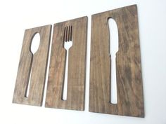 Kitchen Art Fork Spoon Knife Wooden Plaques Wall Decor Housewares Art Carved Wood Wedding Gift byTimberArtSigns