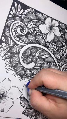 Flower Art Drawing, Flower Drawing Tutorials, Doodle Art Drawing, Zentangle Drawings, Mandala Drawing, Zen Doodle, Zentangle Patterns, Zentangles, Art Drawings Sketches Simple
