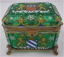 c1880 Moser Bohemian Enameled Armorial Glass Vanity Casket Box    from Hide and Go Keep on Ruby Lane