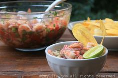 Classic Ecuadorian shrimp ceviche made with shrimp marinated in lime and orange juice with red onions, tomato and cilantro Fish Recipes, Seafood Recipes, Mexican Food Recipes, Cooking Recipes, Healthy Recipes, Ethnic Recipes, Cooking 101, Healthy Eats, Recipies