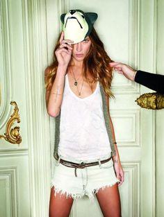 Erin Wasson / Zadig & Voltaire Ad / White Denim Shorts