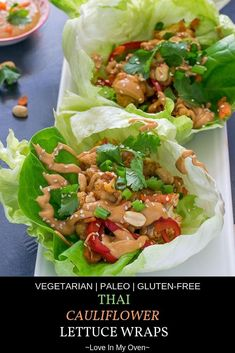 These vegetarian Thai lettuce wraps are basically cauliflower tacos! Crispy, crunchy cauliflower lettuce wraps made of an assortment of veggies and coated in a mildly spicy Thai sauce. // thai peanut lettuce wraps // cauliflower tacos recipe // lettuce wraps vegetarian Shrimp Salad Recipes, Shrimp Recipes Easy, Wrap Recipes, Asian Recipes, Ethnic Recipes, Dinner Recipes, Couscous Recipes, Vegetarian Lettuce Wraps, Veggie Wraps