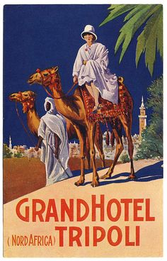 Art of the Luggage Label: Grand Hotel, Tripoli Luggage Stickers, Luggage Labels, Vintage Luggage, Vintage Travel Posters, Vintage Safari, Vintage Hotels, Travel Ads, Grand Hotel, North Africa