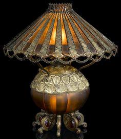 Favrile glass and patinated bronze Moorish table lamp - Tiffany Studios, circa 1893.