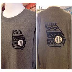 Short Sleeve Georgia Aztec Monogram T-Shirt Womens Vinyl ($25) ❤ liked on Polyvore featuring tops, t-shirts, white, women's clothing, glitter t shirts, monogram t shirts, short sleeve tee, glitter top and white tee
