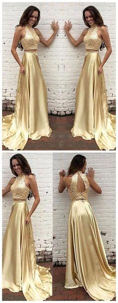 two piece prom dress, long prom dress 2017 prom dress, sparkly gold prom dress