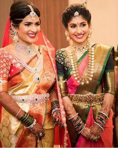 bridal sets & bridesmaid jewelry sets – a complete bridal look Indian Bridal Sarees, Wedding Silk Saree, Indian Bridal Fashion, Indian Bridal Hair, Half Saree Designs, Bridal Blouse Designs, Saree Blouse Designs, Blouse Patterns, Bridal Looks
