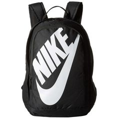 Nike Hayward Futura M 2.0 (Black/Black/White) Backpack Bags ($45) ❤ liked on Polyvore featuring men's fashion, men's bags, men's backpacks, black and nike