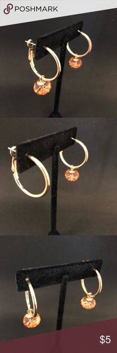 Gold Tone Hoop Earrings W/ Removable Bauble! These are like 2 in 1 Earrings!  They can be worn as plain gold hoops or with the bauble.  The true color of the beads are a peach/orange.   Measurements available upon request Jewelry Earrings