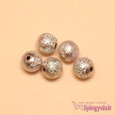Ezüstszínű, lüszteres golyó - akril gyöngy (5 db)
