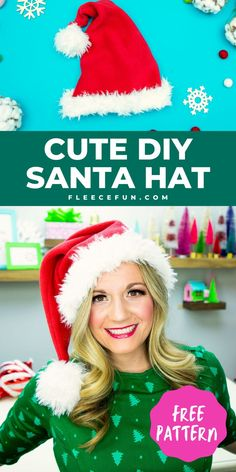 """This Santa Hat how to is a snap to make! You can make a cute Santa Hat to bring holiday cheer to all who wear it… or at least a cute picture! Use the """"add a jingle bell"""" option for more Christmas cheer. Free sewing pattern comes in sizes baby to adult. Has a video tutorial and written instructions to make it easy to make. Quilting For Beginners, Sewing For Beginners, Fun Projects, Sewing Projects, Sewing Essentials, Easy Sewing Patterns, Cute Diys, Santa Hat, Fabric Scraps"""