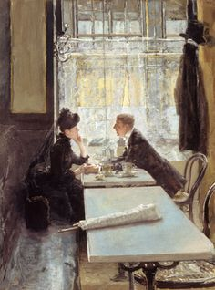 """Gotthard Kuehl """"Lovers in a Cafe (panel)"""""""