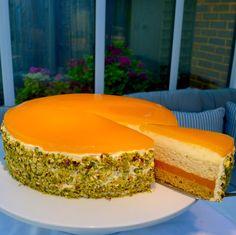 Apricot & Pistachio Torte - Layers of almond and pistachio sponge, apricots and yoghurt mousse. For the recipe visit lusciouscakesandbakes.com