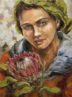 Aviva Maree. Lalla se troublom Protea Art, African Paintings, Beauty In Art, South African Artists, Impressionist Art, Black Artists, Paintings I Love, People Art, Woman Painting