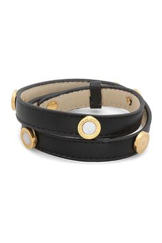 Medallion Leather Wraparound Bracelet