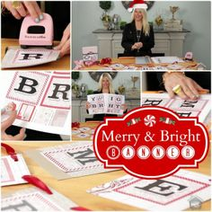TERESA COLLINS DESIGNS: MERRY & BRIGHT CHRISTMAS BANNER Free PDF download to recreate this Merry & Bright Christmas Banner featuring the new Santa's List and Teresa Collins chipboard punch on My Craft Channel.com