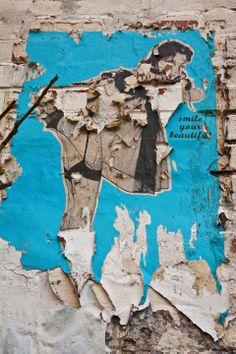 Street Art, Rivington Street, London, Distressed surface, Playful