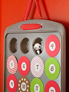 Clever Countdown: With its 24 openings, a mini-muffin pan makes a perfect base for a treat-filled Advent calendar. Because the numbered coverings are held on by magnets, you'll be able to bake with the pan again after Christmas.