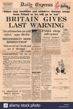 1939 Daily Express front page reporting British ultimatum for Germany Stock Photo: 72277828 - Alamy