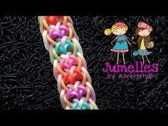 JUMELLES Hook Only bracelet tutorial - YouTube Rainbow Loom Tutorials, Rainbow Loom Patterns, Rainbow Loom Creations, Rainbow Loom Bands, Rainbow Loom Bracelets, Rubber Band Bracelet, Rainbow Crafts, Bracelet Tutorial, Rubber Bands