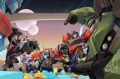 Optimus family 2 by beroberob on DeviantArt Transformers Autobots, Transformers Bumblebee, Transformers Optimus, Optimus Prime, Gi Joe, Gundam, Just In Case, Fan Art, Artwork