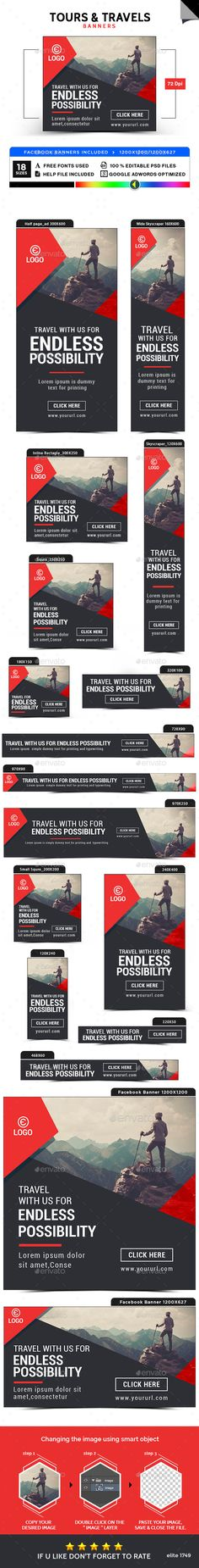 Tours & Travels Banners Template PSD. Download here: https://graphicriver.net/item/tours-travels-banners/17562967?ref=ksioks