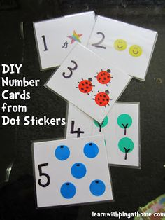 DIY Number Cards from Dot Stickers. Fun, cute and easy. Make yourself or have your child make them.