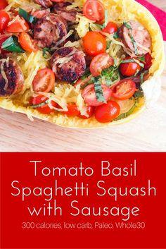 Tomato Basil Spaghetti Squash with Sausage - Slender Kitchen