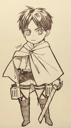 Anime Drawings Sketches, Anime Sketch, Easy Drawings, Fanarts Anime, Anime Manga, Anime Characters, Grisha Jaeger, Chibi Eren, Anime City
