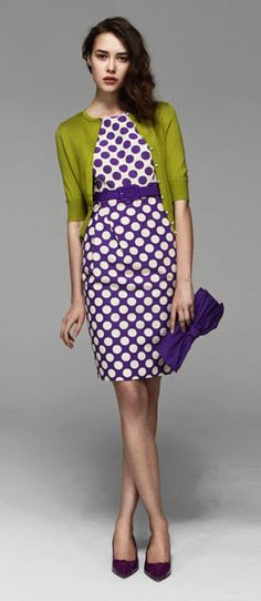 Green apple sweater and purple circle dress- pretty color combination..