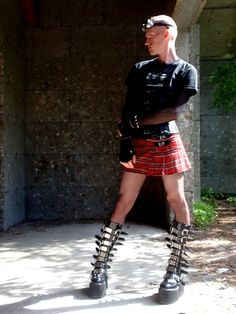 """The Mini Kilt / Skirt looks fine but the boots? Appears to be making a statement """"look at me"""". not the intention of this site. Guys In Skirts, Boys Wearing Skirts, Fetish Fashion, Punk Fashion, Indie Outfits, Cool Outfits, Hombres Gay Sexy, Mode Alternative, Alternative Fashion"""