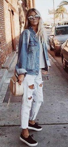 summer outfits  Denim Jacket + White Destroyed Jeans + Black Pumps