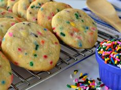 I needed to make some Funfetti Cookies but all the recipes I could find started with a box cake mix, which I didnt have in the house. I used Recipe #394495 as my starting point and went from there. I thought others might appreciate knowing how to make them from scratch as well, so I decided to post a separate recipe.