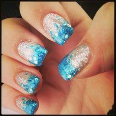 Icicle blue sparkle nails