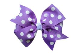 Purple polka dot hair bow by BrownEyedBowtique on Etsy, $5.00