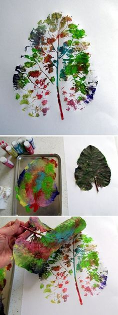 Impression d 'empreinte de feuille: - Herbst - halloween crafts Autumn Crafts, Autumn Art, Nature Crafts, Projects For Kids, Diy For Kids, Crafts For Kids, Autumn Activities, Activities For Kids, Diy And Crafts