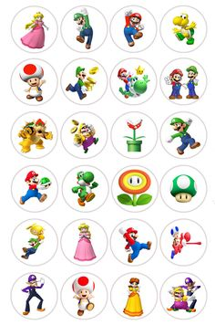 Mario Bros x24 Fairy Cup Cake Toppers Edible Rice Paper Pre Cut in Crafts, Cake Decorating | eBay