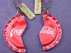 Coca Cola Bottlecap Best Friends Necklaces by KDDjewelry on Etsy,