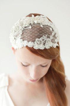 Bridal Head Piece Wedding Hair Accessory Bridal cap by sibodesigns