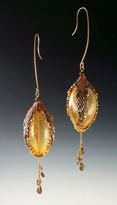 Peyote Stitched Pod Earrings with Venetian Blown Glass by Mikelle Hickman-Romine
