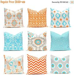 Sale Orange Pillow Covers, Turquoise Pillows, Chevron Pillow, Decorative Throw Pillow Covers, Orange Turquoise, Cushion Covers, Southwest De