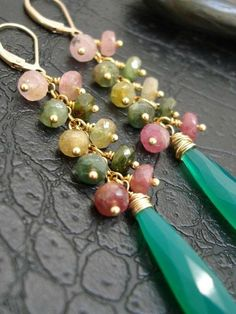 RESERVED FOR zoepeppermoon -Tourmaline and Emerald chalcedony- Cascading… Wire Wrapped Jewelry, Beaded Jewelry, Jewellery, Diy Collier, Homemade Jewelry, Bijoux Diy, Beads And Wire, Bead Earrings, Beautiful Earrings