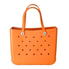 Orange Bogg Bag - They are super sturdy, they float, and you can hose 'em down when they get dirty.  BOGG BAGS do it all!  Great for the beach, pool, boat, grocery shopping, or even as a car organizer (fits perfectly on the floor in the backseat)!  Available in other colors at WWW.SHOPBLUEHORSE.COM #bogg #boggbag #tote