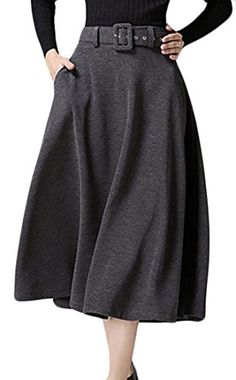 0fa8dc1077 Zantt Women Stylish ALine Swing High Waist Pockets Wool Blend Maxi Skirts  Dark Grey S >