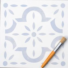 This large tile inspired floor stencil is perfect for adding interest to floors. Use it on bare or painted floorboards, laminate flooring, tiles an. Stencil Fabric, Stencil Patterns, Stencil Diy, Stencil Painting, Floor Stencil, Stencil Walls, Tile Stencils, Furniture Stencil, Bird Stencil