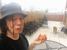 Alan Merrill and his golden retriever Lady Beatrice playing ball at home on the terrace, upper east side of Manhattan Aug. Vodka Collins, East Side, Arrows, Manhattan, Terrace, Singer, Lady, Balcony, Porch